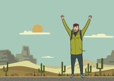 一个年轻人,背包徒步旅行者用被举的手在沙漠 远足者,探险家 成功的符号 传染媒介例证与 皇族释放例证