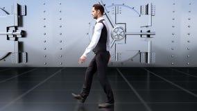 一个年轻商人由保险柜去在银行中 库存例证