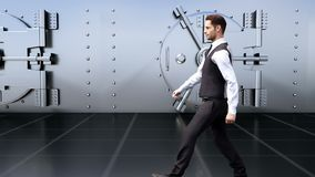 一个年轻商人由保险柜去在银行中 Loopable 库存例证