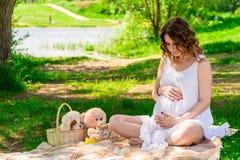 一个年轻妊妇的画象野餐的 图库摄影