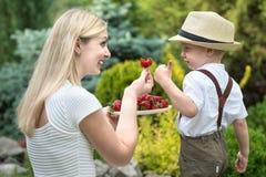 一个年轻母亲对待她的小儿子成熟芬芳草莓 库存照片