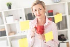 一个年轻白肤金发的女孩在办公室在她的手上站立在有贴纸的一个透明委员会旁边并且拿着一个红色杯子 库存图片