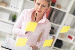 一个年轻白肤金发的女孩在办公室站立在有贴纸的一个透明委员会旁边并且拿着文件和铅笔  库存图片