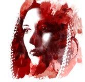 一个年轻美丽的女孩的两次曝光 一张女性面孔的被绘的画象 在白色背景隔绝的多彩多姿的图片 f 向量例证