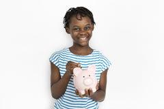 一个年轻非裔美国人的女孩的画象 免版税库存照片