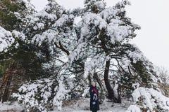 一个年轻,俏丽的女孩摆在一棵大积雪的杉木前面下 库存图片