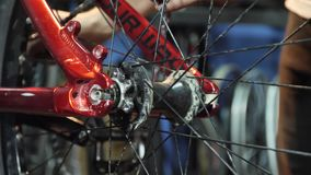 一个年轻mahanic定象自行车车轮她的修理车间 影视素材