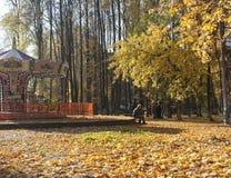 一个年迈的人在城市公园在秋天 免版税库存图片