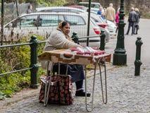 一个年长吉普赛人卖一个莓在入口到公园离Pelesh城堡不远锡纳亚位于罗马尼亚 库存图片