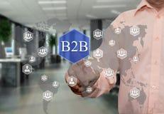 一个年长商人选择B2B,企业间在 库存图片