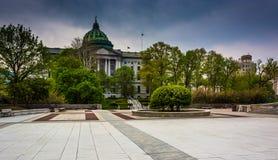 一个广场和状态国会大厦在哈里斯堡,宾夕法尼亚 库存照片