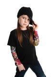 一个庞克摇滚乐女孩的画象有帽子的 库存图片