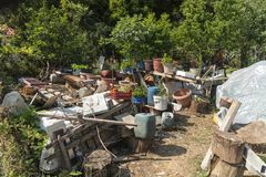 一个庭院在波罗斯岛, Elios Proni,凯法利尼亚岛Kefelonia 免版税图库摄影