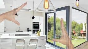 一个开放现代厨房的计划的整修 影视素材