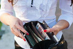 一个开放钱包 图库摄影