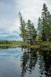 一个弯在独木舟路线的河 库存图片