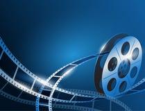 一个影片条纹卷轴的例证在发光的蓝色电影背景的 免版税库存图片