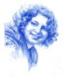 一个微笑的女孩的铅笔画象 库存图片