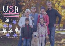 一个微笑的家庭的综合图象 免版税库存图片