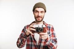 一个微笑的年轻人游人的画象 库存照片
