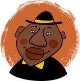 一个微笑的非裔美国人的人的动画片画象 免版税库存照片