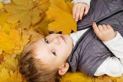 一个快乐的小男孩的画象在秋叶耽溺于 库存照片