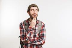 一个快乐的有胡子的人的画象格子花呢上衣的 免版税库存照片