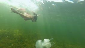 一个怀孕的快乐的少妇游泳并且潜水在与一只白色水母的水下在公海 影视素材