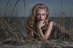 一个性感的金发碧眼的女人的画象海滩的 库存照片