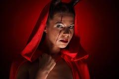 一个恶魔的画象有垫铁的 幻想 艺术剪报恶魔查出的路径项目 万圣节 库存照片