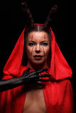 一个恶魔的画象有垫铁的 幻想 艺术剪报恶魔查出的路径项目 万圣节 图库摄影
