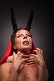 一个恶魔的画象有垫铁的 幻想 艺术剪报恶魔查出的路径项目 万圣节 免版税库存图片