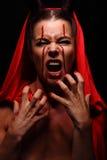 一个恶魔的画象有垫铁的 幻想 艺术剪报恶魔查出的路径项目 万圣节 免版税库存照片