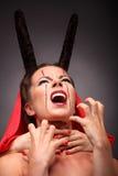 一个恶魔的画象有垫铁的 幻想 艺术 库存照片
