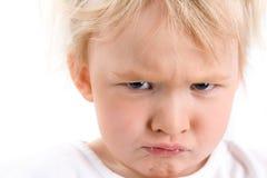 一个恼怒的女孩的画象 库存照片