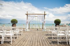 一个惊人的室外婚礼 免版税图库摄影
