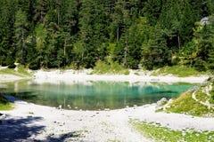 一个惊人的绿色湖在奥地利Hohshwab山 免版税库存图片