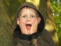 一个惊吓的男孩 库存图片