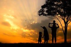 一个愉快的五口之家的剪影人、母亲、父亲、婴孩、孩子和婴儿(妇女prenancy) 免版税图库摄影