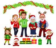 一个愉快的圣诞节家庭的画象一起 库存图片