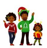 一个愉快的圣诞节家庭的画象一起 免版税图库摄影