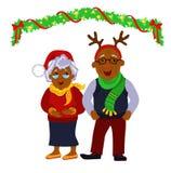 一个愉快的圣诞节祖父母的画象一起 免版税库存照片