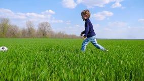 一个愉快的孩子横跨绿草的领域跑并且踢在慢动作的一个足球 股票录像