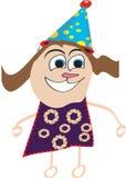 一个愉快的孩子的例证与生日帽子/盖帽的 免版税库存图片