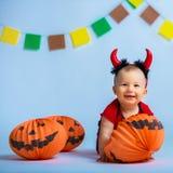 一个愉快的孩子的画象仿照万圣夜样式 免版税图库摄影