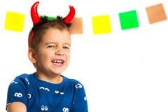 一个愉快的孩子的画象仿照万圣夜样式 图库摄影