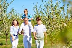 一个愉快的家庭在庭院里在春天走,在夏天 库存图片