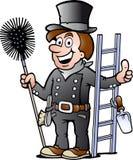 一个愉快的扫烟囱的人的例证 库存图片