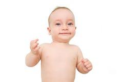 一个愉快的新出生的婴孩的画象 免版税库存图片