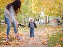 一个愉快的母亲使用与她的小儿子在秋天公园 免版税库存图片